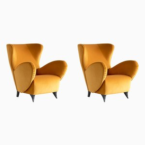 Sculptural Gold Velvet Turin School Wingback Armchairs, 1940s, Set of 2