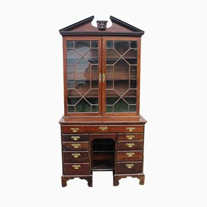 Georgian Mahogany Kneehole Desk with Astragal Glazed Top, 1780s