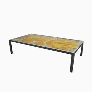 Table Basse avec Plateau en Carreaux de Céramique Peints à la Main, 1960s