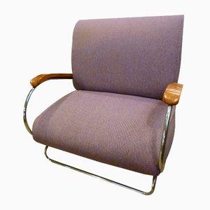 Spanish Aluminum, Wood, & Fabric Lounge Chair, 1970s