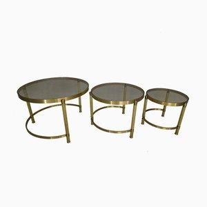 Tables Gigognes Style Néoclassique Vintage en Laiton et Verre
