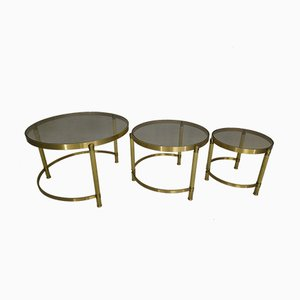 Vintage Neoclassical Style Brass & Glass Nesting Tables