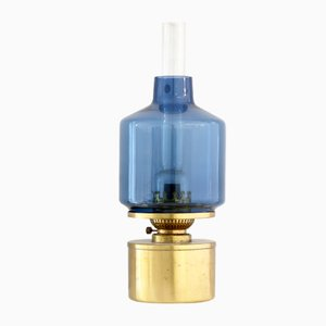 Brass and Blue Glass L47 Oil Lamp by Hans Agne Jakobsson, 1960s