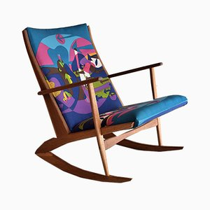 Mid-Century Colorful Rocking Chair by Holger Georg Jensen for Tønder Møbelværk