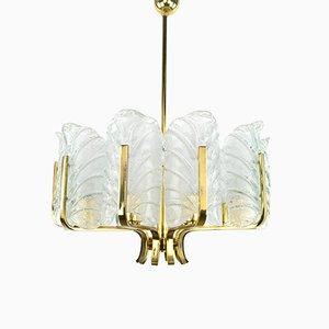 Lámpara de araña Mid-Century de vidrio y latón de Carl Fagerlund para Orrefors, años 60