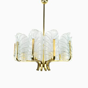 Mid-Century Glass & Brass Chandelier by Carl Fagerlund for Orrefors, 1960s