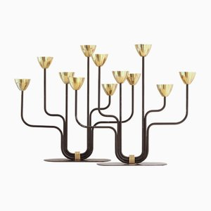 Vintage Black Metal & Brass 6-Branch Candelabras by Gunnar Ander for Ystad-Metall, Set of 2