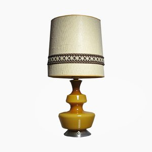 Mid-Century Yellow Glass Table Lamp by Holmegaard, 1960s