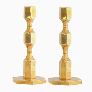 Brass Candleholders by Lars Bergsten for Gusum Mässing, 1975, Set of 2