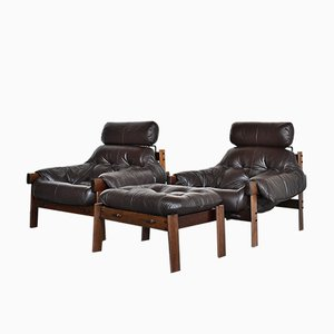 Leather High Back Lounge Chairs with Footstools from Percival Lafer, 1970s