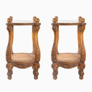 Nacht- oder Beistelltische aus geschnitztem Holz im Regency-Stil, 1900er, 2er Set