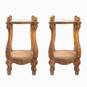 Regency Style Carved Wooden Nightstands or Sofa End Tables, 1900s, Set of 2