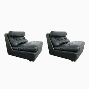Black Leather Lounge Chairs with Wheels from Ligne Roset, 1960s, Set of 2