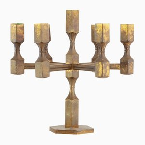 Brass Seven Arm Candelabra by Lars Bergsten for Gusum Mässing, 1973