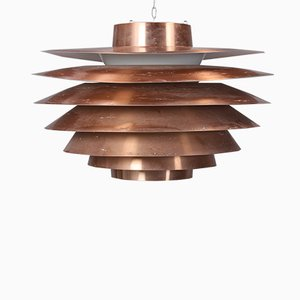 Large Vintage Copper Verona Pendant Lamp by Svend Middelboe for Føg & Mørup