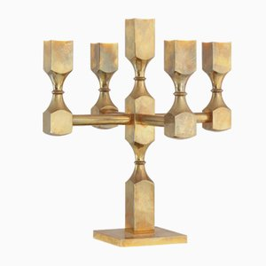 Brass Five Arm Candelabra by Lars Bergsten for Gusum Mässing, 1988
