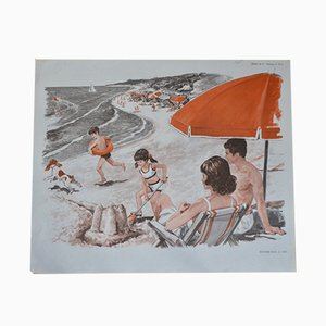 Póster escolar con ilustraciones de playa y barco de vela de MDI, 1970