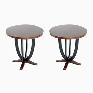 Tables d'Appoint Art Déco Rondes, Italie, 1930s, Set de 2