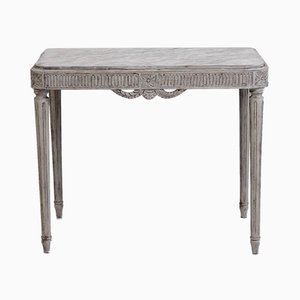 Antique Richly Carved Gustavian Style Console Table with Faux Marble Top
