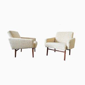 Danish Cream Armchairs, 1960s, Set of 2