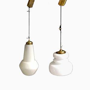 Lámparas colgantes vintage de cristal de Murano, años 50. Juego de 2