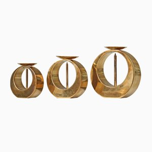 Mid-Century Brass Candleholders by Arthur Pe, Set of 3