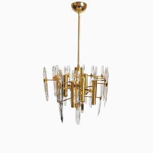 Lámpara de araña con nueve puntos de luz de Gaetano Sciolari, años 60