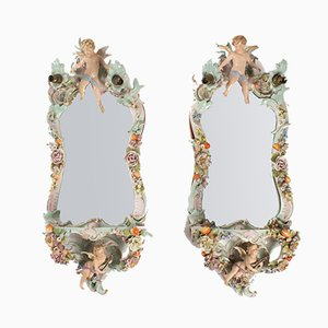 Antique 19th-Century Porcelain Illuminated Mirrors, Set of 2