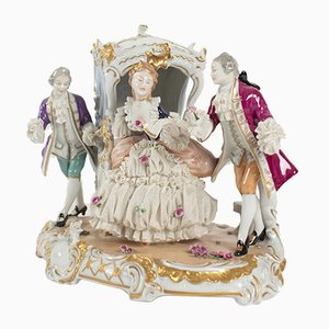 Antique Porcelain Carriage Scene from Unterweissbach