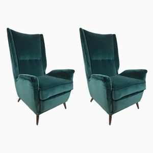 High Back Teal Velvet Armchairs by Gio Ponti, 1950s, Set of 2