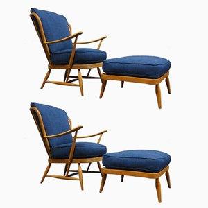Mid-Century Armlehnstühle & Fußhocker aus Buche von Ercol, 2er Set
