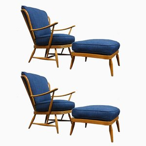 Mid-Century Beech Armchairs & Footstools from Ercol, Set of 2