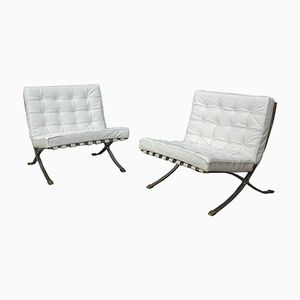 Vintage White Barcelona Armchairs by Ludwig Mies van der Rohe, Set of 2