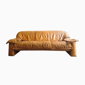 Vintage Cognac Leather Three Seater Sofa, 1970s