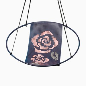 Violet Cross Stitch Embroidery Hanging Swing Chair from Studio Stirling