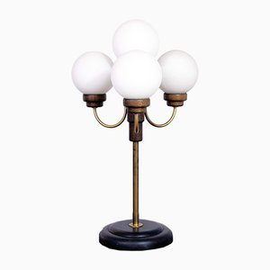 Floor Lamp with 4 Opaline Glass Globes, 1960s