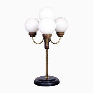 Lámpara de pie con cuatro globos de vidrio opalino, años 60