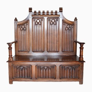 French Carved Walnut Gothic Hall Bench with Chest, 1890s