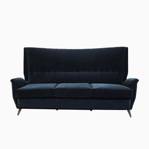 Blue Velvet 3-Seater Wingback Sofa by Gio Ponti, 1950s