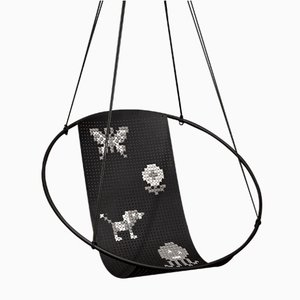 Black Cross Stitch Embroidery Hanging Swing Chair from Studio Stirling