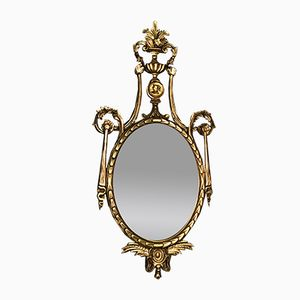 Oval Louis XVI Style Wooden Mirror, 1970s