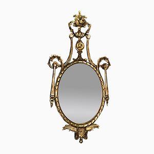 Specchio Luigi XVI ovale in legno, anni '70