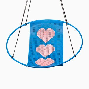 Blue Cross Stitch Embroidery Hanging Swing Chair from Studio Stirling