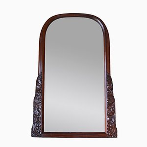 French Art Deco Carved Mahogany Mantel Mirror by André Groult, 1920s