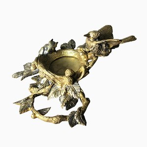 Gilded and Silvered Bronze Bird and Mouse Vide Poche, 1950s