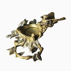 Vide poche con pájaro y ratón de bronce dorado y plateado, años 50