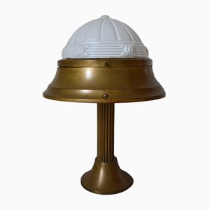Art Deco French Patinated Brass & Molded Glass Table Lamp, 1930s