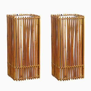 Vintage Rattan Table Lamps, Set of 2
