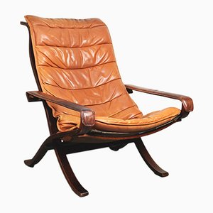 Siesta Highback Leather Lounge Chair by Ingmar Relling for Westnofa, 1960s
