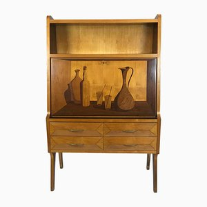 Italian Wood Dry Bar Cabinet, 1950s